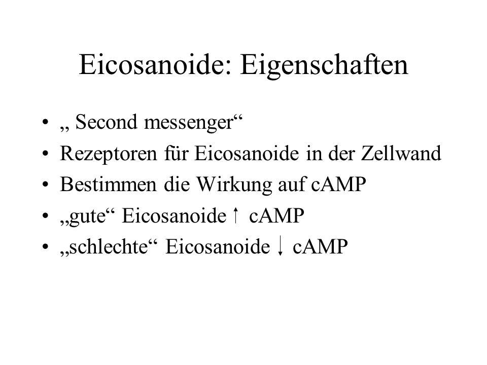 Eicosanoide: Eigenschaften Second messenger Rezeptoren für Eicosanoide in der Zellwand Bestimmen die Wirkung auf cAMP gute Eicosanoide cAMP schlechte Eicosanoide cAMP
