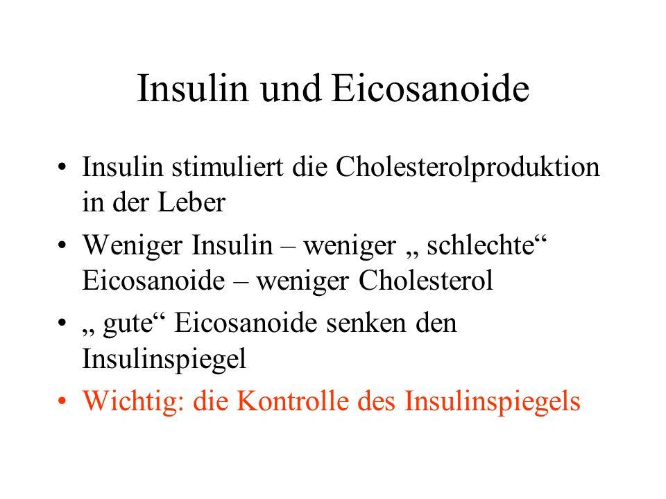 Insulin und Eicosanoide Insulin stimuliert die Cholesterolproduktion in der Leber Weniger Insulin – weniger schlechte Eicosanoide – weniger Cholesterol gute Eicosanoide senken den Insulinspiegel Wichtig: die Kontrolle des Insulinspiegels