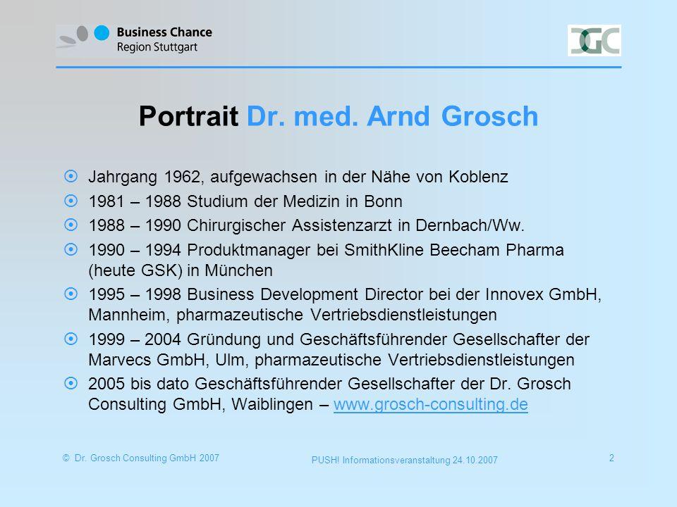 © Dr. Grosch Consulting GmbH 20072 PUSH. Informationsveranstaltung 24.10.2007 Portrait Dr.