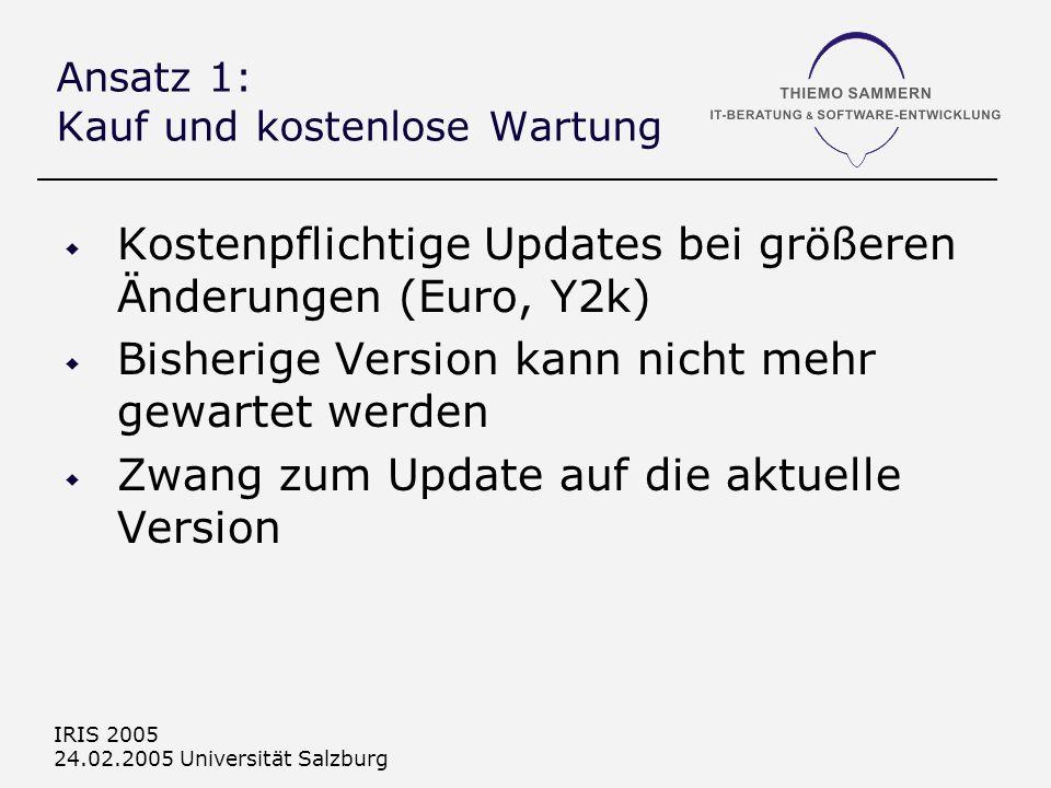 IRIS 2005 24.02.2005 Universität Salzburg Ansatz 1: Kauf und kostenlose Wartung Kostenpflichtige Updates bei größeren Änderungen (Euro, Y2k) Bisherige Version kann nicht mehr gewartet werden Zwang zum Update auf die aktuelle Version