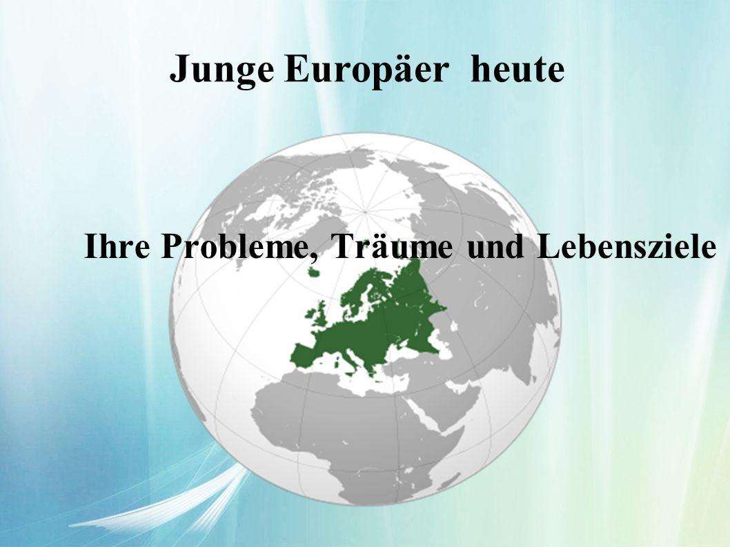 Junge Europäer heute Ihre Probleme, Träume und Lebensziele