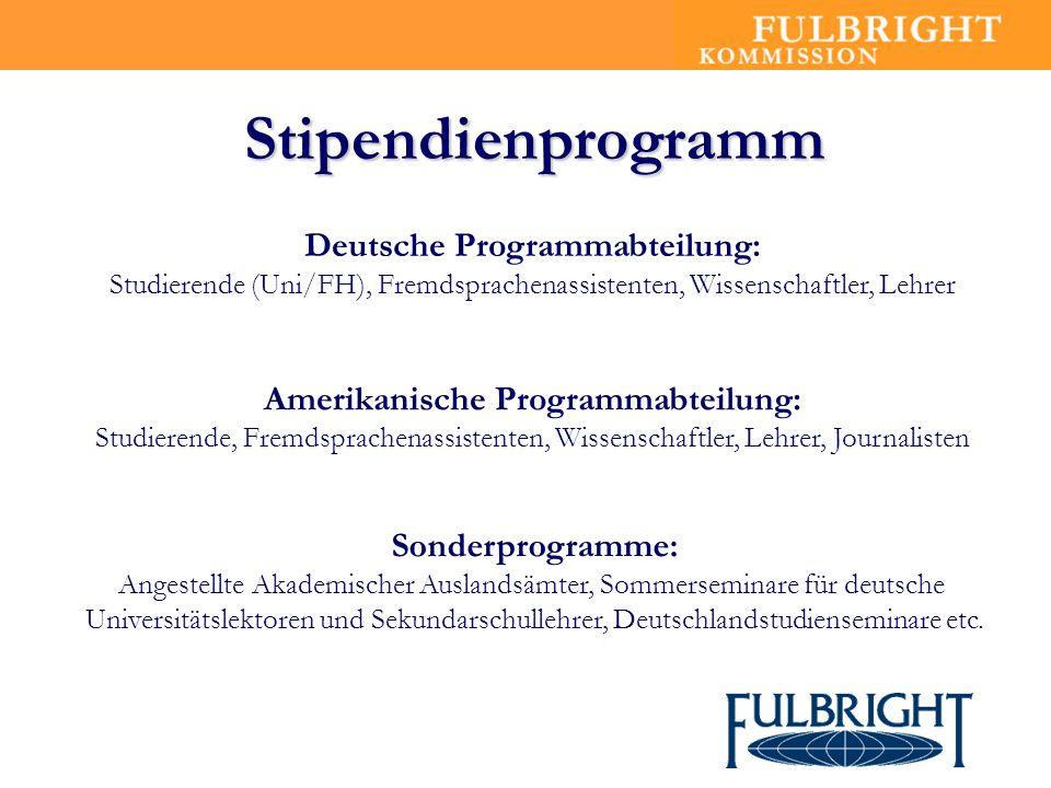 Anzahl & Verteilung der Stipendien Wissenschaftler 15 Lehrer 12 Fremd- sprachen Assistenten 18 Uni- Studierende 165 FH- Studierende 60 - deutsche Stipendiaten - Quelle: GPU 04/2004