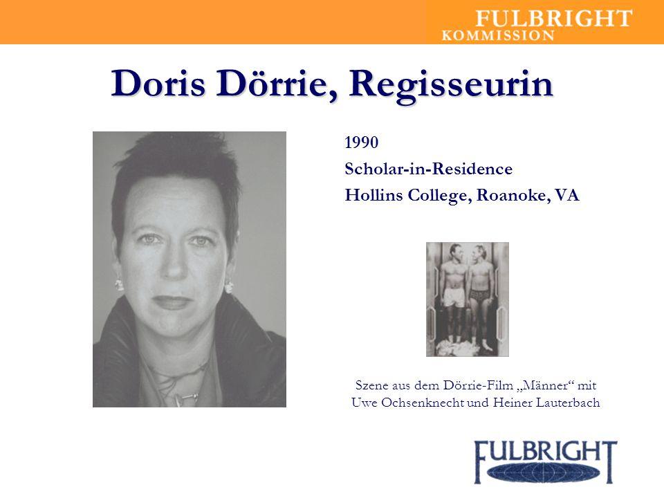 Doris Dörrie, Regisseurin 1990 Scholar-in-Residence Hollins College, Roanoke, VA Szene aus dem Dörrie-Film Männer mit Uwe Ochsenknecht und Heiner Lauterbach