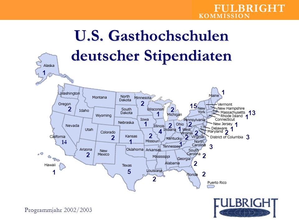 U.S. Gasthochschulen deutscher Stipendiaten 3 14 5 2 2 15 13 1 2 3 4 2 2 2 1 2 2 2 1 1 2 2 2 1 2 1 1 1 1 2 1 2 Programmjahr 2002/2003 1