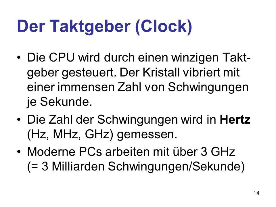 14 Der Taktgeber (Clock) Die CPU wird durch einen winzigen Takt- geber gesteuert. Der Kristall vibriert mit einer immensen Zahl von Schwingungen je Se