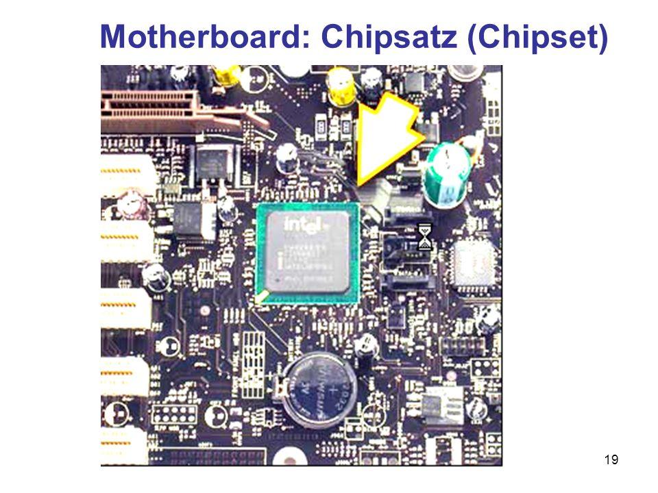 20 Der Chipsatz (Chipset) Chipsätze kontrollieren und steuern den Datenfluss auf dem Motherboard Ein Chipsatz besteht häufig aus zwei Chips: der Northbridge und der South- bridge Der richtige Chipsatz ist wichtig für die Leistungsfähigkeit eines PC