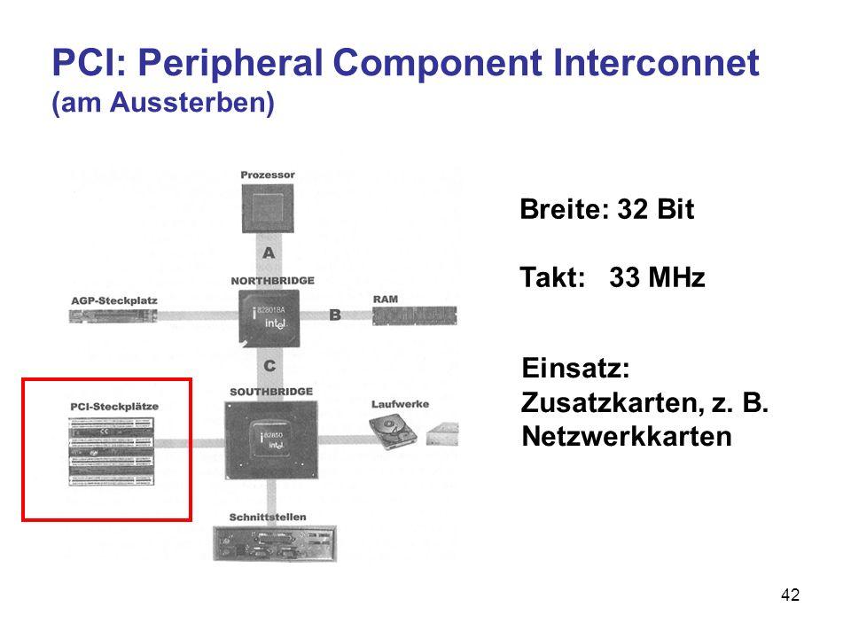 42 PCI: Peripheral Component Interconnet (am Aussterben) Breite: 32 Bit Takt: 33 MHz Einsatz: Zusatzkarten, z. B. Netzwerkkarten