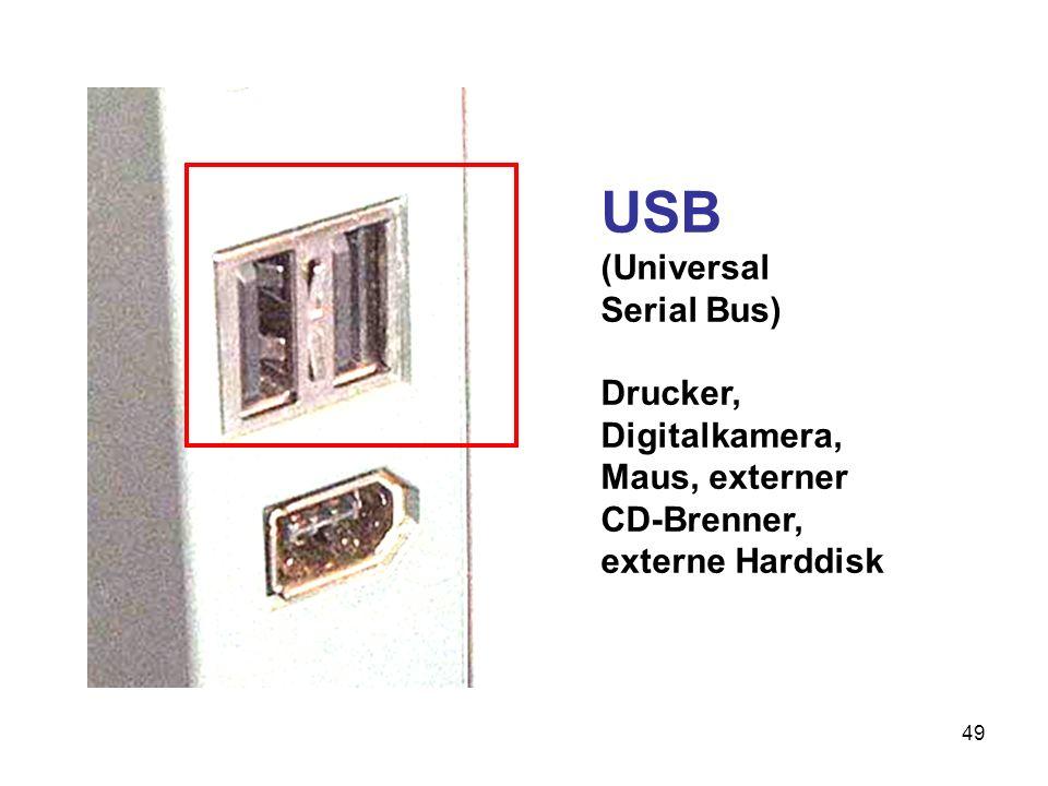 50 Serielle Schnittstelle (RS232) Modem, Maus, Analyse- Geräte (verliert an Bedeutung)
