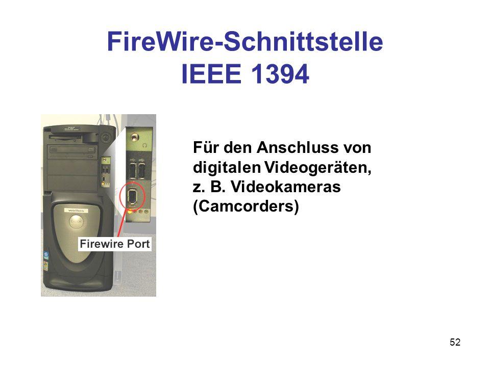 52 Für den Anschluss von digitalen Videogeräten, z. B. Videokameras (Camcorders) FireWire-Schnittstelle IEEE 1394