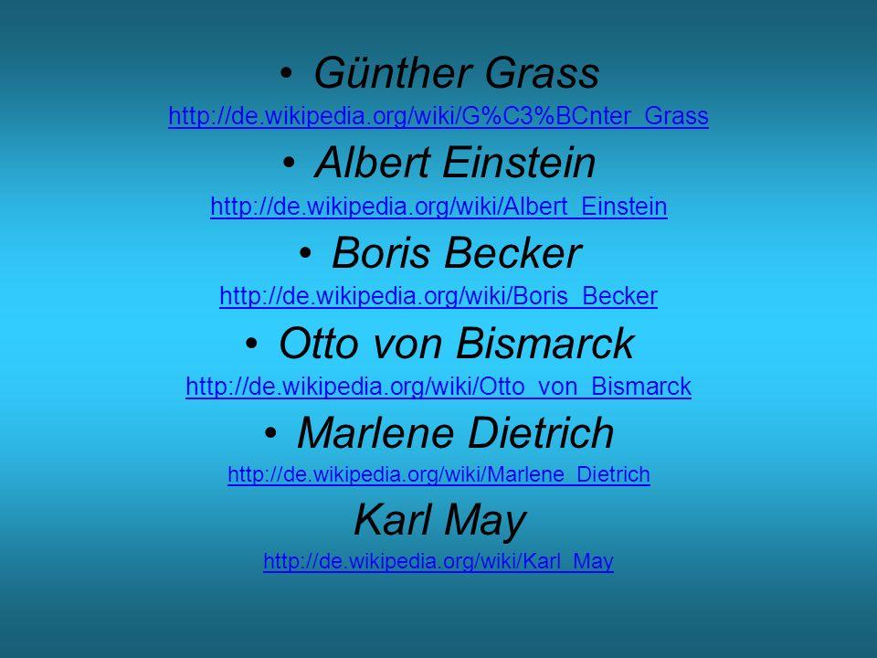 Odkazy na zdroje použitých fotografií a portrétů http://de.wikipedia.org/wiki/Albert_Einstein http://de.wikipedia.org/wiki/Richard_Wagner http://kultura.dama.cz/clanek.php?d=1896 http://de.wikipedia.org/wiki/Otto_von_Bismarck http://cs.wikipedia.org/wiki/Erich_Maria_Remarque http://de.wikipedia.org/wiki/Karl_May http://de.wikipedia.org/wiki/Heinrich_Schliemann http://www.marlenedietrich.org/ http://nobelprize.org/nobel_prizes/literature/laureates/19 99/grass-bio.htmlhttp://nobelprize.org/nobel_prizes/literature/laureates/19 99/grass-bio.html http://de.wikipedia.org/wiki/Clara_Schumann http://de.wikipedia.org/wiki/Goethe