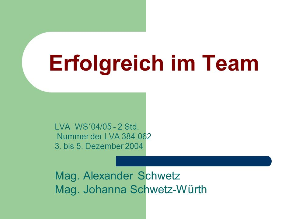 Erfolgreich im Team LVA WS´04/05 - 2 Std. Nummer der LVA 384.062 3. bis 5. Dezember 2004 Mag. Alexander Schwetz Mag. Johanna Schwetz-Würth