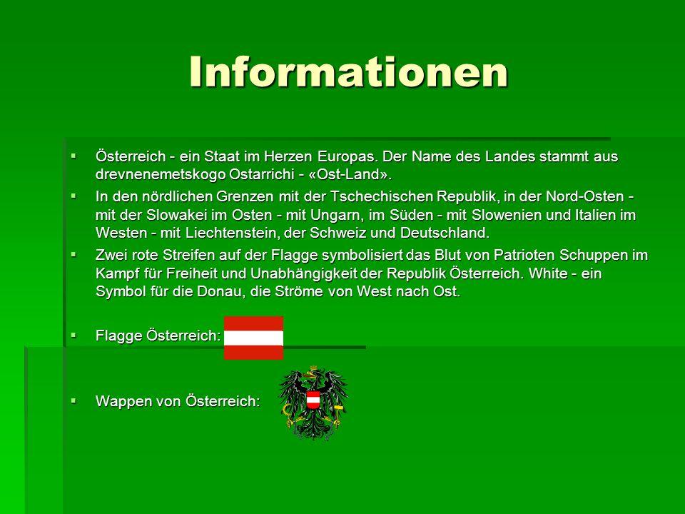 Informationen Österreich - ein Staat im Herzen Europas. Der Name des Landes stammt aus drevnenemetskogo Ostarrichi - «Ost-Land». Österreich - ein Staa