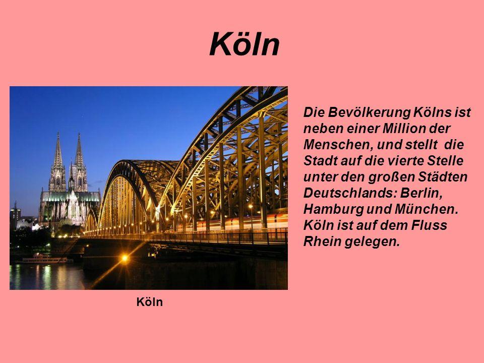 Die Bevölkerung Kölns ist neben einer Million der Menschen, und stellt die Stadt auf die vierte Stelle unter den großen Städten Deutschlands: Berlin,