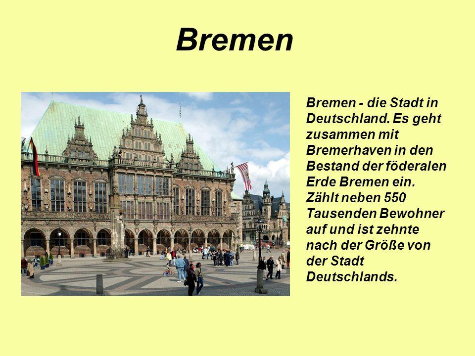 Bremen - die Stadt in Deutschland. Es geht zusammen mit Bremerhaven in den Bestand der föderalen Erde Bremen ein. Zählt neben 550 Tausenden Bewohner a