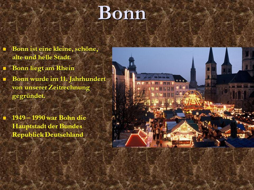 Bonn ist eine kleine, schöne, alte und helle Stadt. Bonn ist eine kleine, schöne, alte und helle Stadt. Bonn liegt am Rhein Bonn liegt am Rhein Bonn w