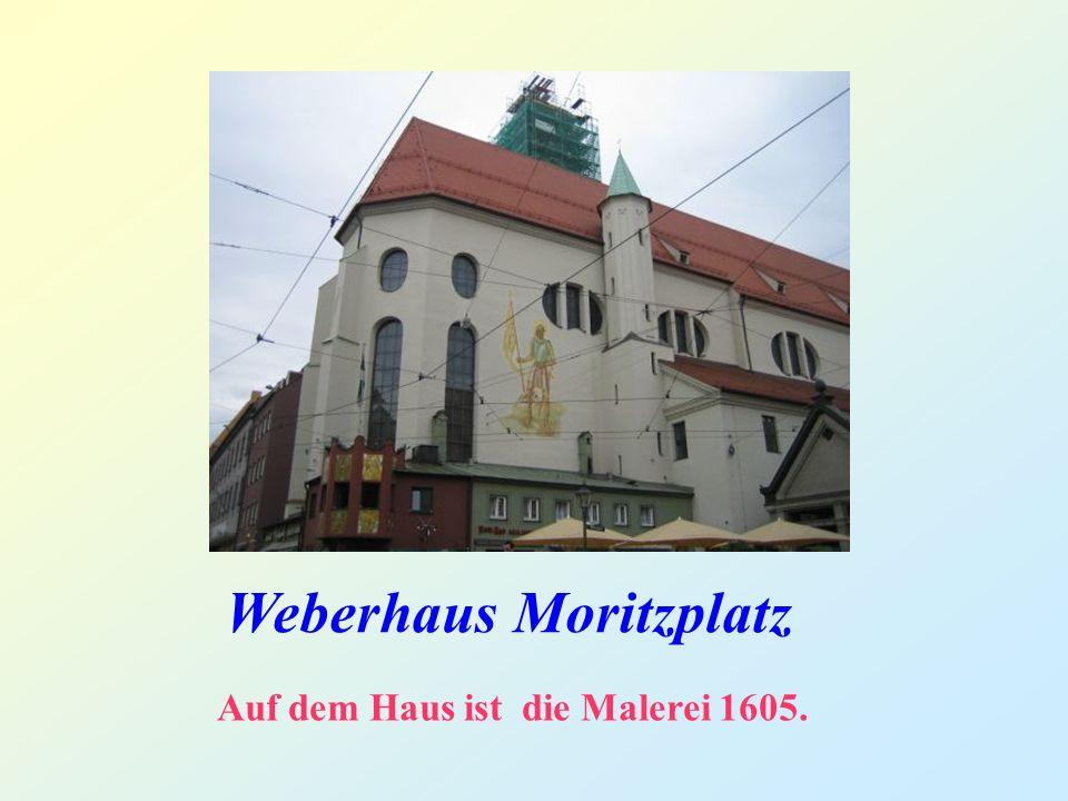 Weberhaus Moritzplatz Auf dem Haus ist die Malerei 1605.