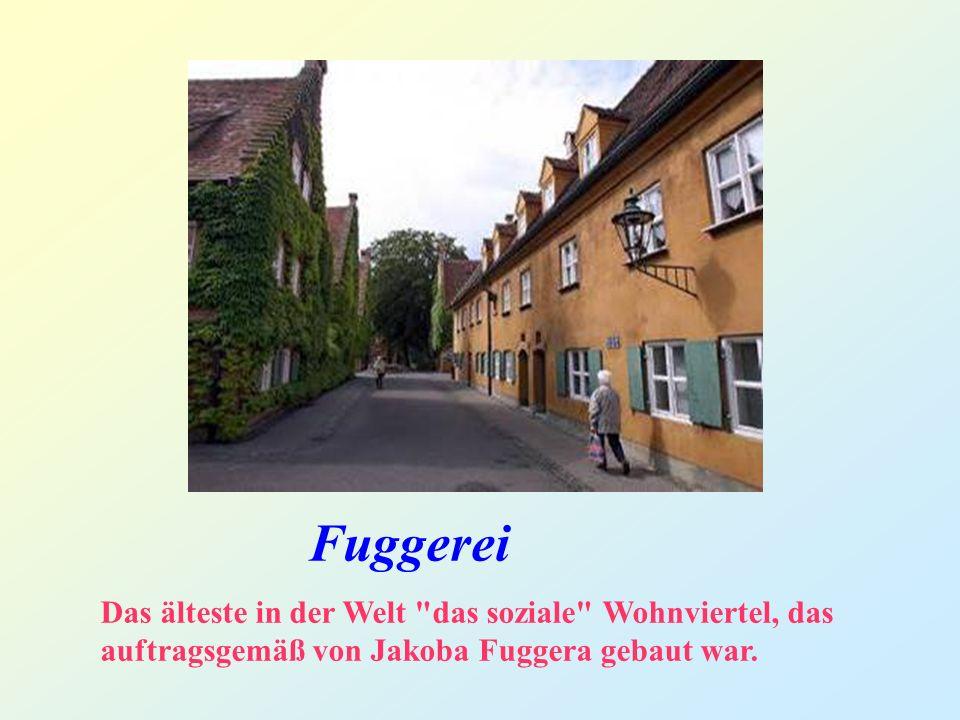 Fuggerei Das älteste in der Welt das soziale Wohnviertel, das auftragsgemäß von Jakoba Fuggera gebaut war.