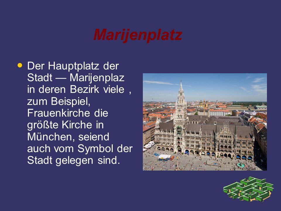 Marijenplatz Der Hauptplatz der Stadt Marijenplaz in deren Bezirk viele, zum Beispiel, Frauenkirche die größte Kirche in München, seiend auch vom Symb