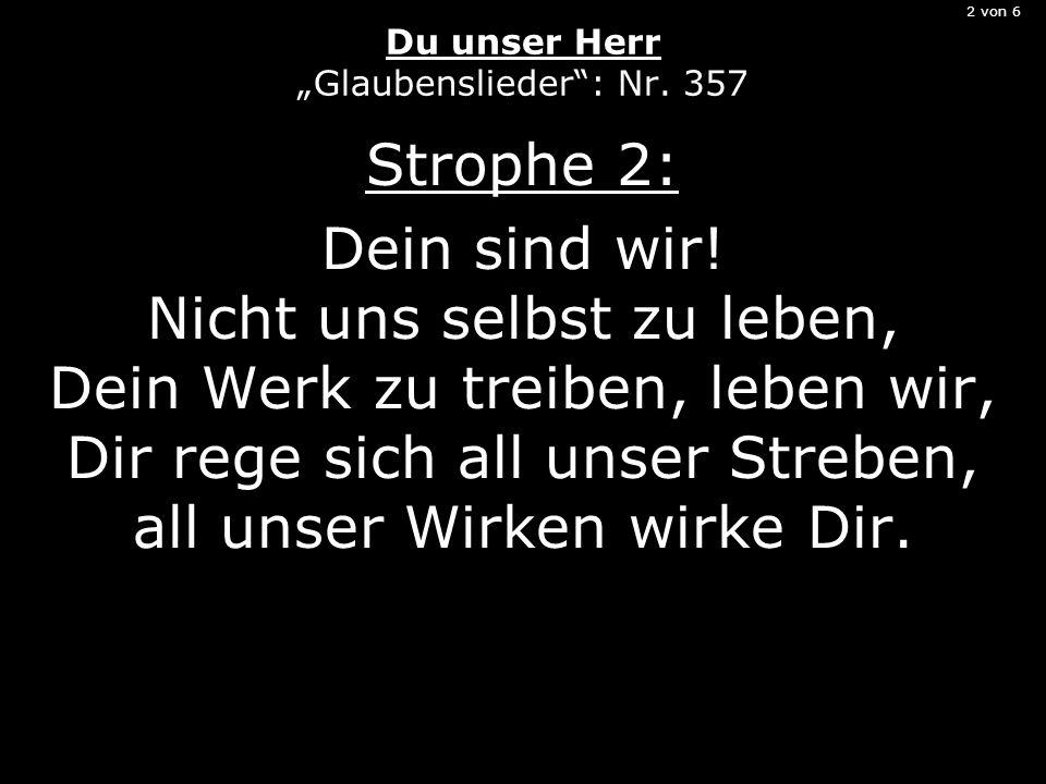 2 von 6 Du unser Herr Glaubenslieder: Nr. 357 Strophe 2: Dein sind wir.