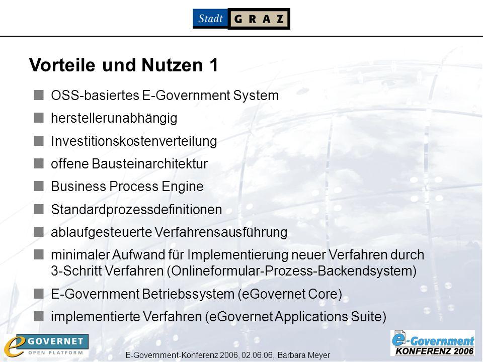 E-Government-Konferenz 2006, 02.06.06, Barbara Meyer OSS-basiertes E-Government System herstellerunabhängig Investitionskostenverteilung offene Bauste