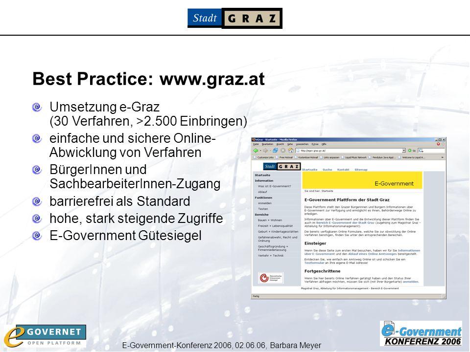 E-Government-Konferenz 2006, 02.06.06, Barbara Meyer Umsetzung e-Graz (30 Verfahren, >2.500 Einbringen) einfache und sichere Online- Abwicklung von Ve