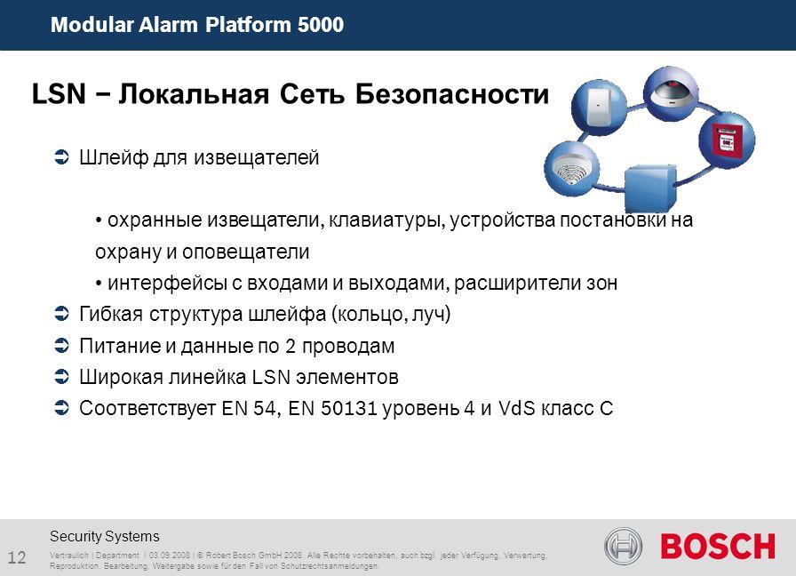 Modular Alarm Platform 5000 12 Vertraulich | Department | 03.09.2008 | © Robert Bosch GmbH 2008. Alle Rechte vorbehalten, auch bzgl. jeder Verfügung,