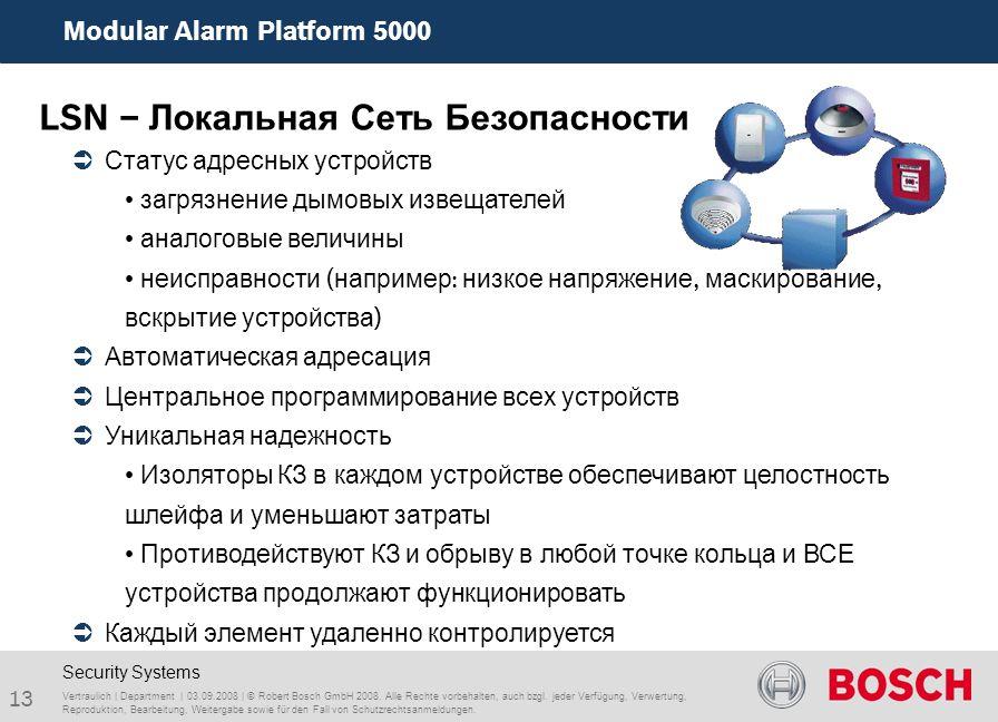 Modular Alarm Platform 5000 13 Vertraulich | Department | 03.09.2008 | © Robert Bosch GmbH 2008. Alle Rechte vorbehalten, auch bzgl. jeder Verfügung,
