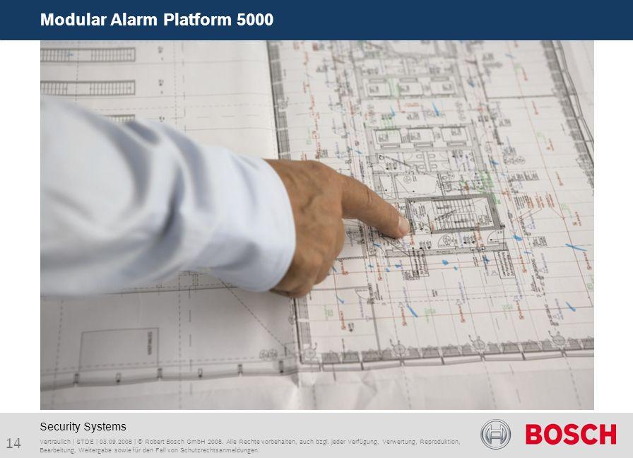 Modular Alarm Platform 5000 14 Vertraulich | STDE | 03.09.2008 | © Robert Bosch GmbH 2008. Alle Rechte vorbehalten, auch bzgl. jeder Verfügung, Verwer