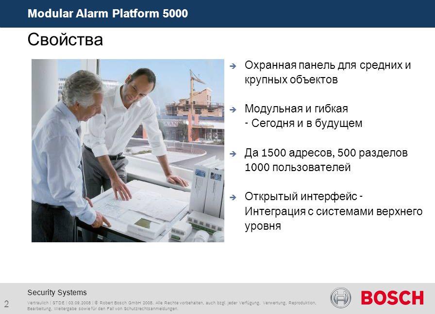 Modular Alarm Platform 5000 2 Vertraulich | STDE | 03.09.2008 | © Robert Bosch GmbH 2008. Alle Rechte vorbehalten, auch bzgl. jeder Verfügung, Verwert
