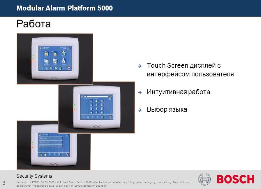 Modular Alarm Platform 5000 3 Vertraulich | STDE | 03.09.2008 | © Robert Bosch GmbH 2008. Alle Rechte vorbehalten, auch bzgl. jeder Verfügung, Verwert