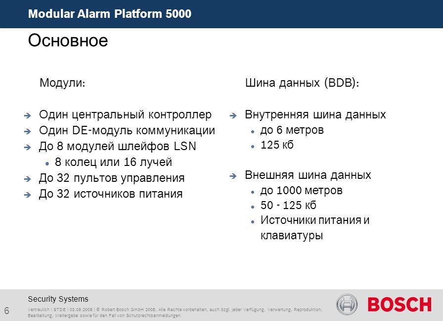 Modular Alarm Platform 5000 6 Vertraulich | STDE | 03.09.2008 | © Robert Bosch GmbH 2008. Alle Rechte vorbehalten, auch bzgl. jeder Verfügung, Verwert