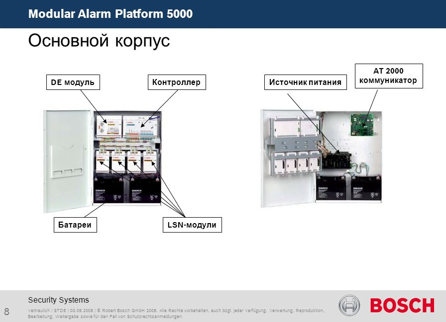 Modular Alarm Platform 5000 8 Vertraulich | STDE | 03.09.2008 | © Robert Bosch GmbH 2008.