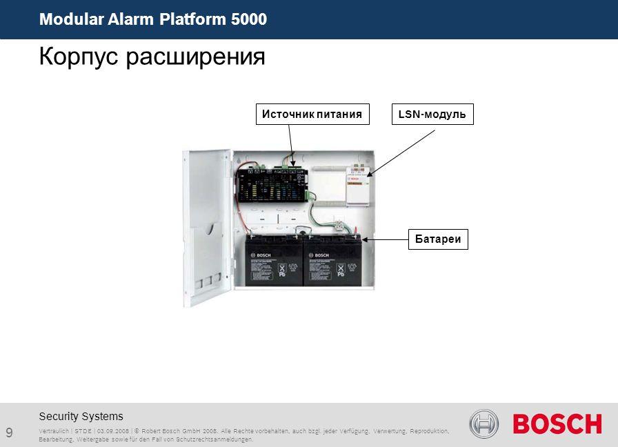 Modular Alarm Platform 5000 9 Vertraulich | STDE | 03.09.2008 | © Robert Bosch GmbH 2008. Alle Rechte vorbehalten, auch bzgl. jeder Verfügung, Verwert