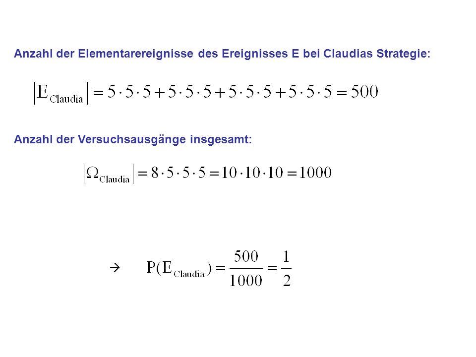 Anzahl der Elementarereignisse des Ereignisses E bei Claudias Strategie: Anzahl der Versuchsausgänge insgesamt: