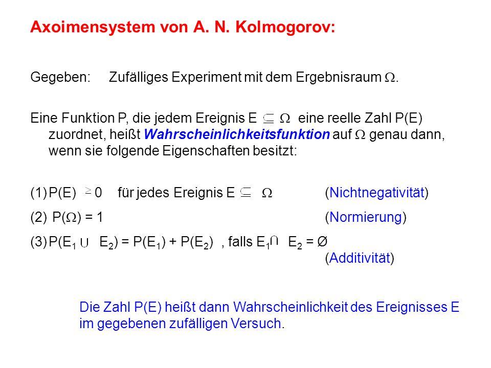 Axoimensystem von A. N. Kolmogorov: Gegeben: Zufälliges Experiment mit dem Ergebnisraum.