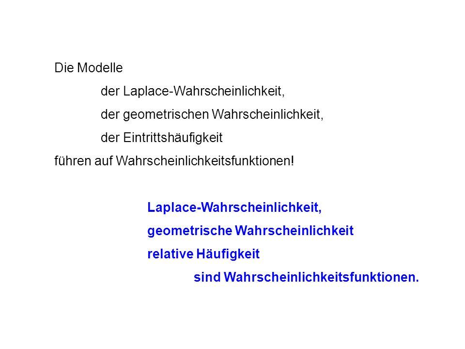 Die Modelle der Laplace-Wahrscheinlichkeit, der geometrischen Wahrscheinlichkeit, der Eintrittshäufigkeit führen auf Wahrscheinlichkeitsfunktionen.