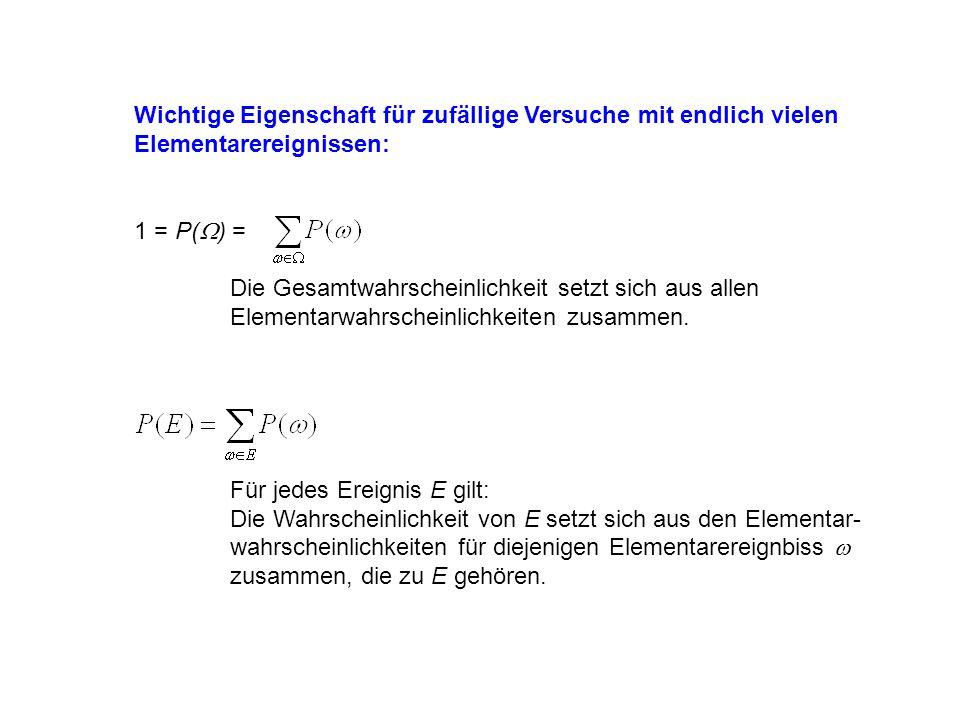 Wichtige Eigenschaft für zufällige Versuche mit endlich vielen Elementarereignissen: 1 = P( ) = Die Gesamtwahrscheinlichkeit setzt sich aus allen Elementarwahrscheinlichkeiten zusammen.