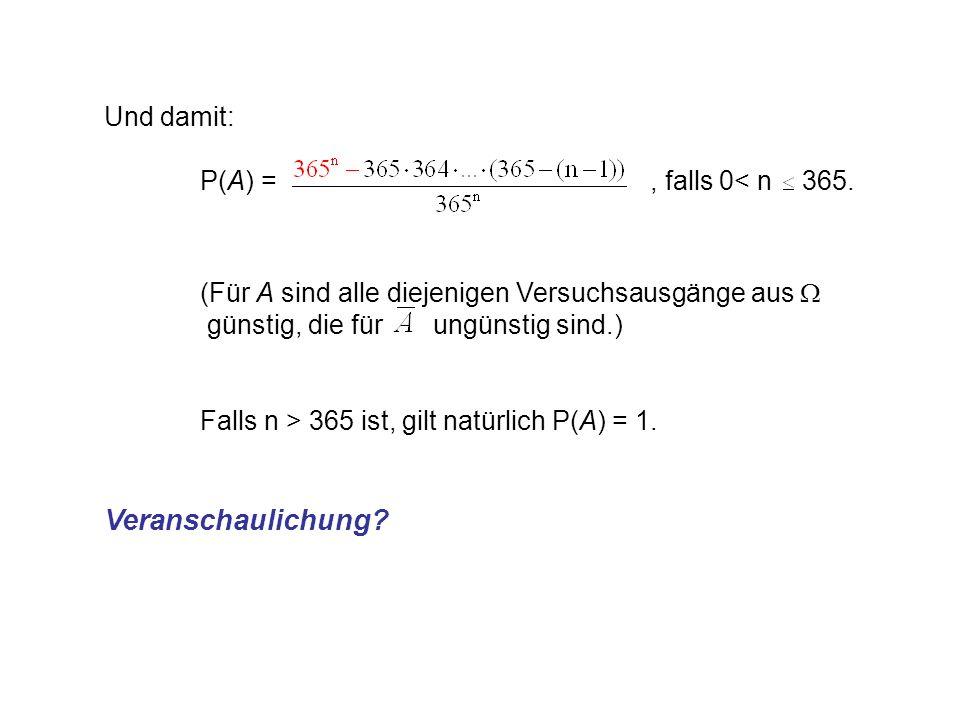 Und damit: P(A) =, falls 0< n 365.