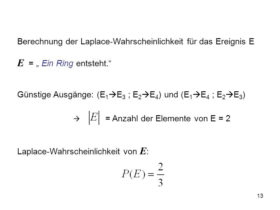 13 Berechnung der Laplace-Wahrscheinlichkeit für das Ereignis E E = Ein Ring entsteht.