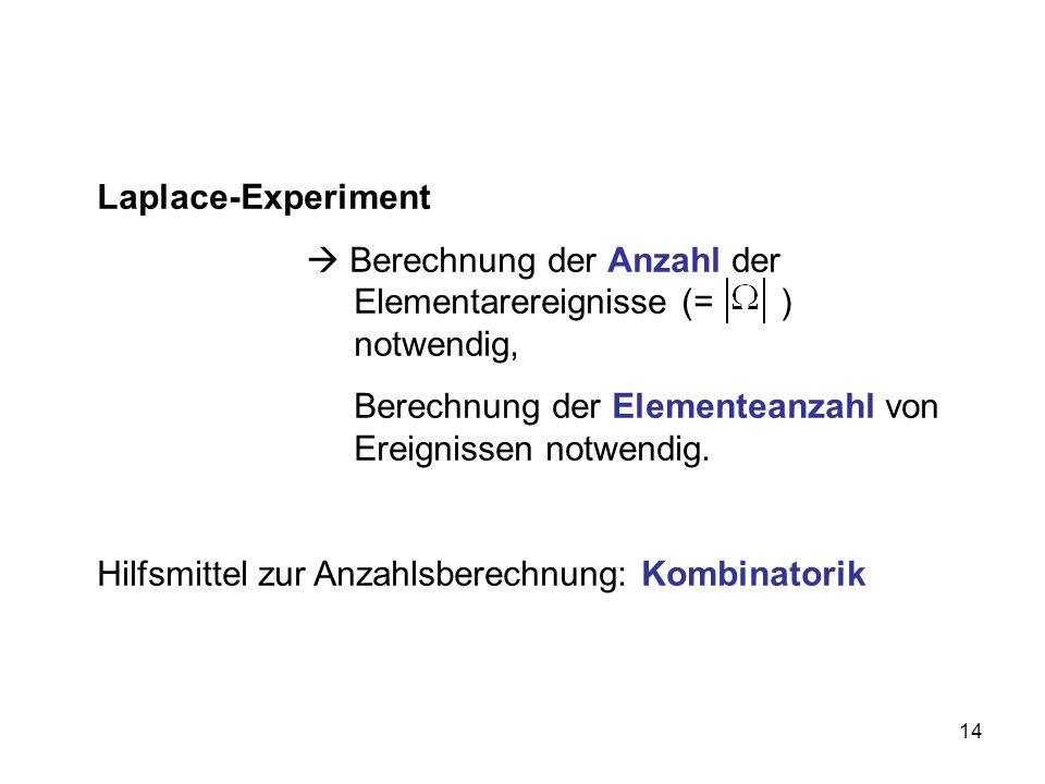 14 Laplace-Experiment Berechnung der Anzahl der Elementarereignisse (= ) notwendig, Berechnung der Elementeanzahl von Ereignissen notwendig.