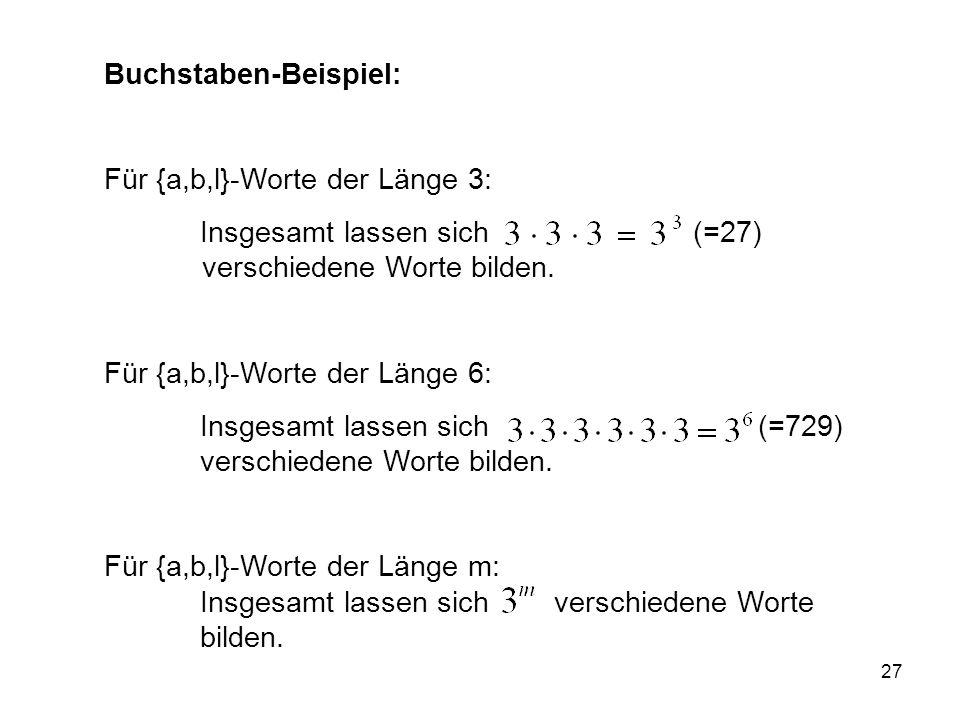 27 Buchstaben-Beispiel: Für {a,b,l}-Worte der Länge 3: Insgesamt lassen sich (=27) verschiedene Worte bilden.