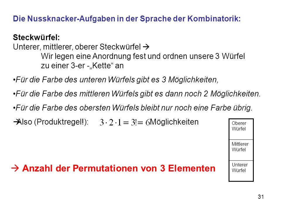 31 Die Nussknacker-Aufgaben in der Sprache der Kombinatorik: Steckwürfel: Unterer, mittlerer, oberer Steckwürfel Wir legen eine Anordnung fest und ordnen unsere 3 Würfel zu einer 3-er -Kette an Für die Farbe des unteren Würfels gibt es 3 Möglichkeiten, Für die Farbe des mittleren Würfels gibt es dann noch 2 Möglichkeiten.