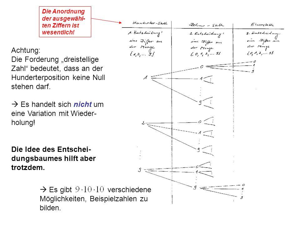 38 Achtung: Die Forderung dreistellige Zahl bedeutet, dass an der Hunderterposition keine Null stehen darf.