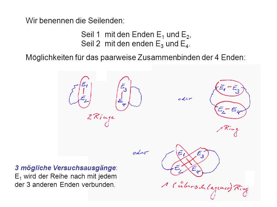 9 Wir benennen die Seilenden: Seil 1 mit den Enden E 1 und E 2, Seil 2 mit den enden E 3 und E 4.