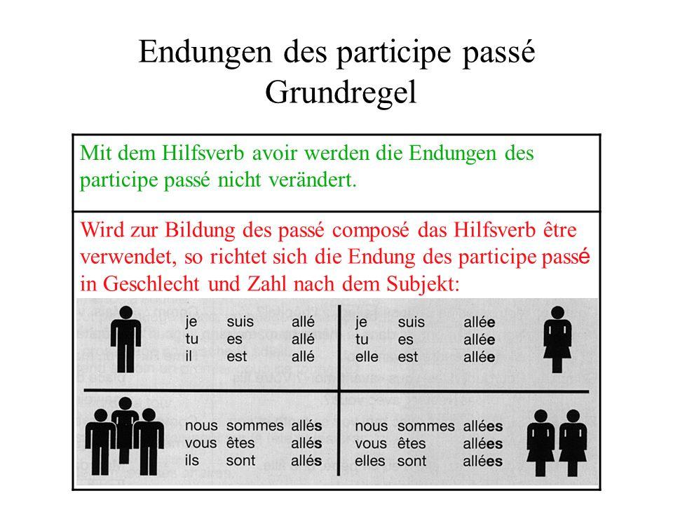 Endungen des participe passé Grundregel Mit dem Hilfsverb avoir werden die Endungen des participe passé nicht verändert.