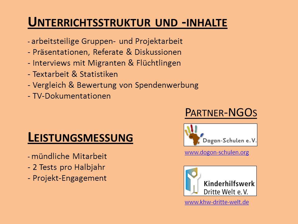 U NTERRICHTSSTRUKTUR UND - INHALTE - arbeitsteilige Gruppen- und Projektarbeit - Präsentationen, Referate & Diskussionen - Interviews mit Migranten &