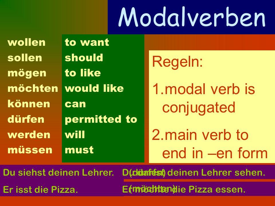 wollen sollen mögen möchten können dürfen werden müssen to want should to like would like can permitted to will must Regeln: 1.modal verb is conjugate