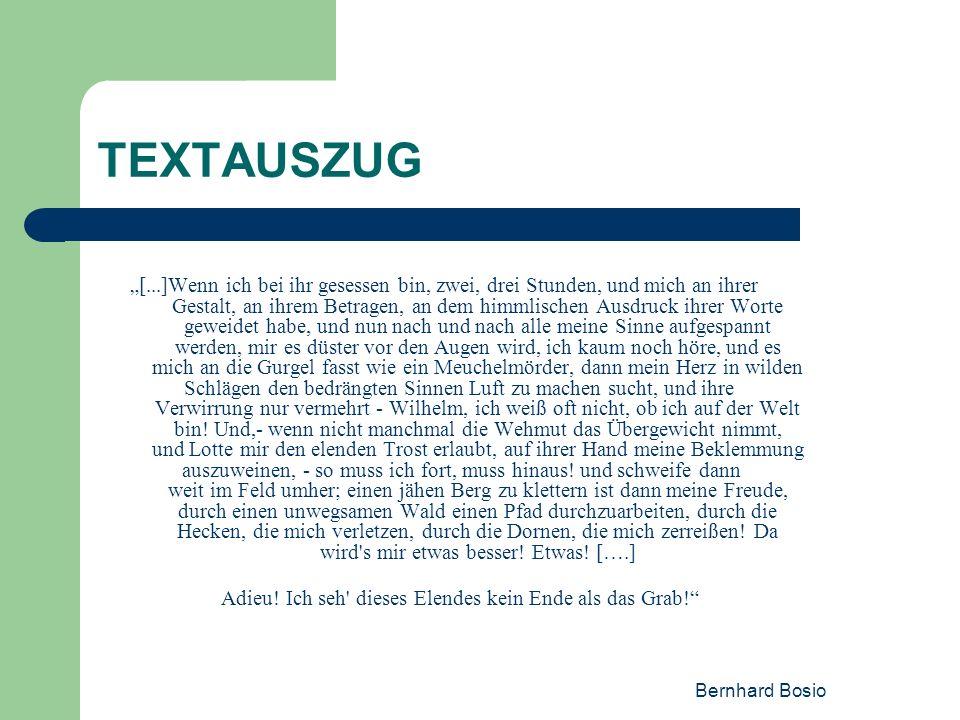 Bernhard Bosio TEXTAUSZUG [...]Wenn ich bei ihr gesessen bin, zwei, drei Stunden, und mich an ihrer Gestalt, an ihrem Betragen, an dem himmlischen Aus