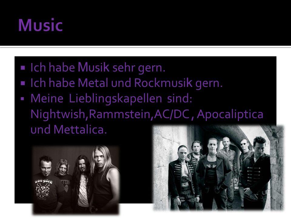 Ich habe M usi k sehr gern. Ich habe Metal und Rockmusi k gern.