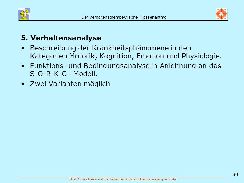 Der verhaltenstherapeutische Kassenantrag Klinik für Psychiatrie und Psychotherapie, Kath. Krankenhaus Hagen gem. GmbH 30 5. Verhaltensanalyse Beschre